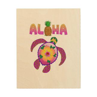 Quadro De Madeira Aloha tartaruga havaiana de Honu