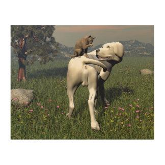 Quadro De Madeira Amizade do cão e gato
