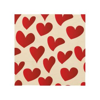 Quadro De Madeira Amor vermelho pintado teste padrão do coração da