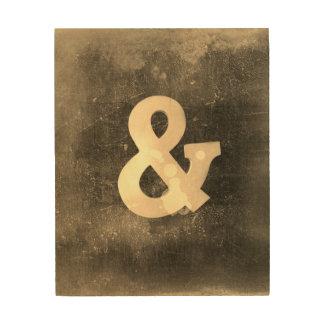 Quadro De Madeira ampersand no marrom rústico de madeira do estilo