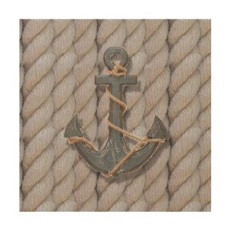 Quadro De Madeira âncora náutica da madeira da corda da praia