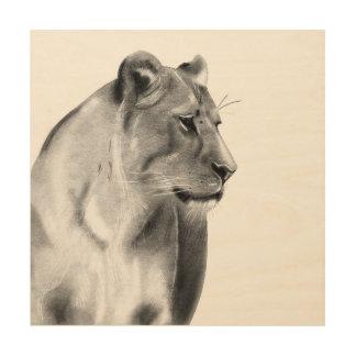 Quadro De Madeira Animais selvagens da leoa das pastagem do Savanna
