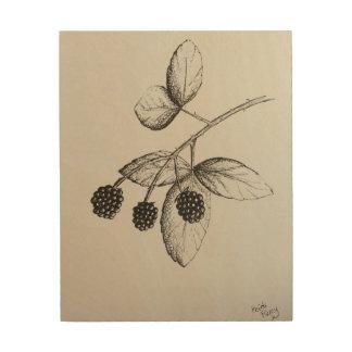Quadro De Madeira Arte da madeira da ilustração das amoras-pretas de