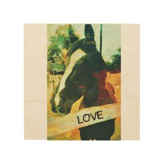 Quadro De Madeira Arte da madeira do cavalo do amor