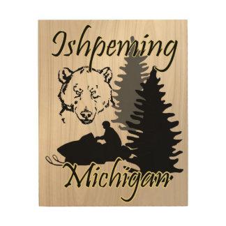 Quadro De Madeira Arte da madeira do urso do Snowmobile de Ishpeming