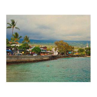 Quadro De Madeira Arte da pintura de óleo de Havaí Digital do cais