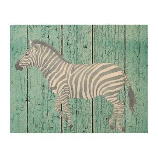 Quadro De Madeira Arte de madeira azul da parede da zebra da