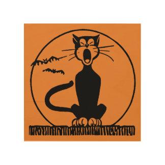 Quadro De Madeira Arte de madeira da meia-noite da parede do gato de