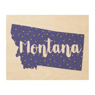 Quadro De Madeira Arte de madeira da parede da silhueta de Montana