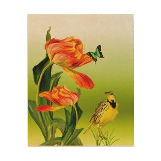 Quadro De Madeira Arte de madeira da parede do pássaro e da