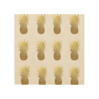Quadro De Madeira Arte de madeira da parede dos abacaxis do ouro