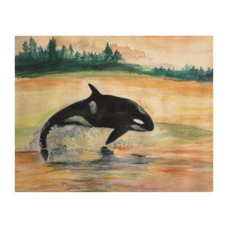 Quadro De Madeira Arte de madeira de salto da parede da baleia da