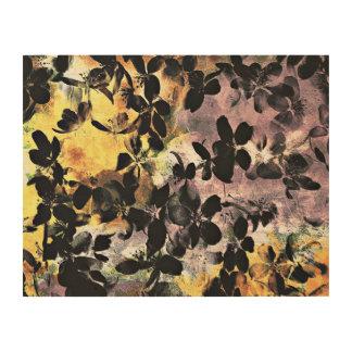 Quadro De Madeira Arte digital floral cor-de-rosa amarela do teste
