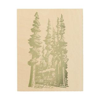 Quadro De Madeira Arte do bosque do Sepia na madeira