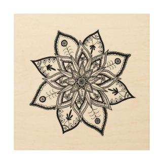 Quadro De Madeira Arte floral da parede da mandala do folclore