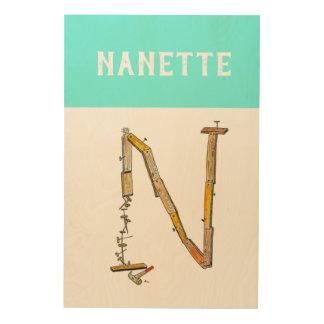 Quadro De Madeira Arte personalizada da parede da letra N do
