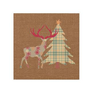 Quadro De Madeira Árvore do veado e de Natal de Boho no efeito de