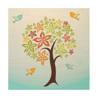 Quadro De Madeira Árvore e pássaros
