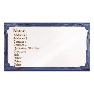 Quadro de madeira azul do olhar da tinta do cartão de visita