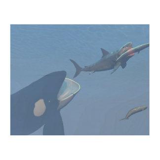 Quadro De Madeira Baleias e megalodon subaquáticos - 3D rendem