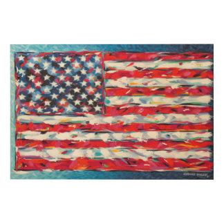 Quadro De Madeira Bandeira americana