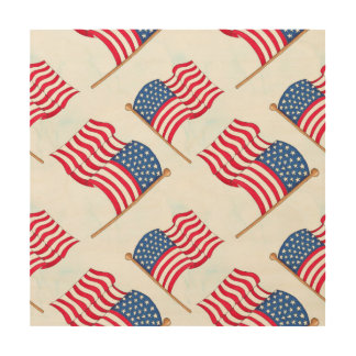 Quadro De Madeira Bandeira americana 4o do azul branco vermelho de