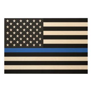 Quadro De Madeira Bandeira americana fina de Blue Line