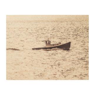 Quadro De Madeira Barco 1935 da lagosta de Maine