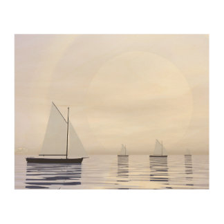 Quadro De Madeira Barcos de navigação - 3D rendem