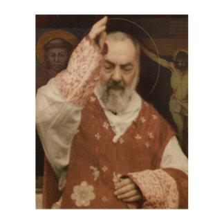 Quadro De Madeira Bênçãos de St. Pio de Pietrelcina.
