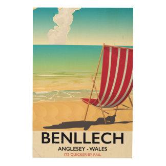 Quadro De Madeira Benllech, poster das viagens vintage de Anglesey
