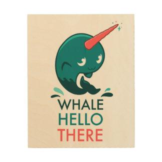 Quadro De Madeira Bloco de madeira de Narwhal da baleia olá! lá
