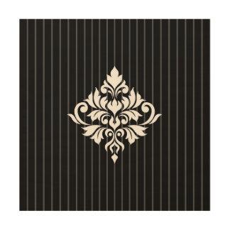 Quadro De Madeira Branco do design do damasco do Flourish em listras