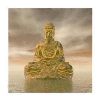 Quadro De Madeira Buddha dourado - 3D rendem