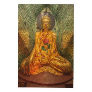 Quadro De Madeira Buddha dourado no templo