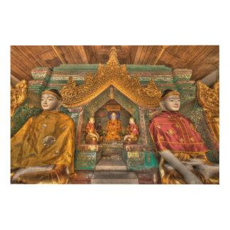 Quadro De Madeira Buddhas em um templo