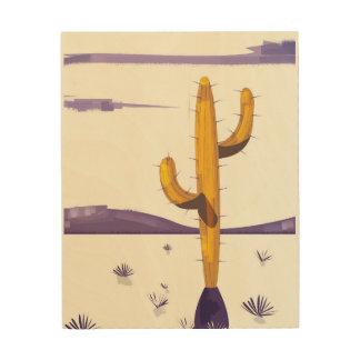 Quadro De Madeira Cacto do vintage no deserto