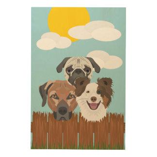 Quadro De Madeira Cães afortunados da ilustração em uma cerca de