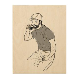Quadro De Madeira Café do bebendo do homem em uma cafetaria