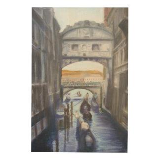 Quadro De Madeira Canais de Veneza com arte de madeira da parede das