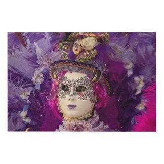 Quadro De Madeira Cara de um traje do carnaval, Veneza