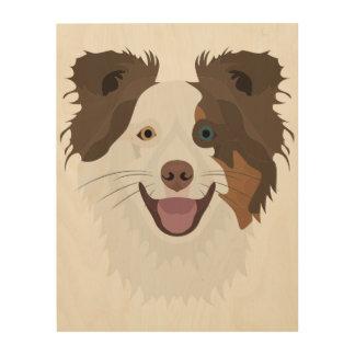 Quadro De Madeira Cara feliz border collie dos cães da ilustração
