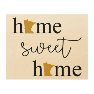 Quadro De Madeira Casa doce Home com logotipos de Minnesota