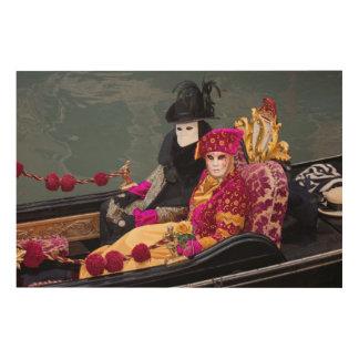 Quadro De Madeira Casal na gôndola no carnaval, Veneza