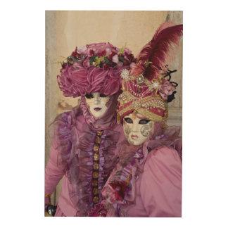 Quadro De Madeira Casal no traje do carnaval, Veneza