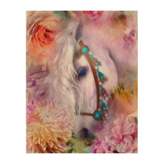 Quadro De Madeira Cavalo branco romântico com joaninha