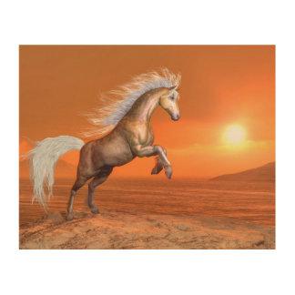 Quadro De Madeira Cavalo que eleva pelo por do sol - 3D rendem