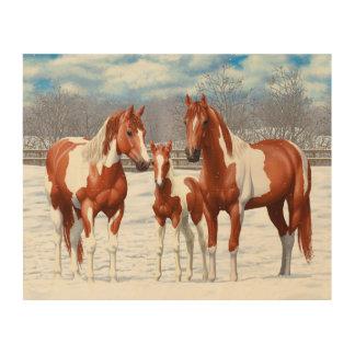 Quadro De Madeira Cavalos do Pinto da castanha na neve