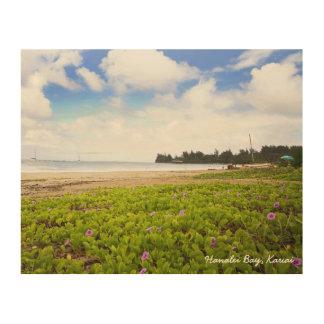 Quadro De Madeira Cena da praia de Kauai Havaí da baía de Hanalei