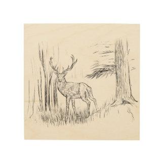 Quadro De Madeira Cervos na arte de madeira da parede da floresta